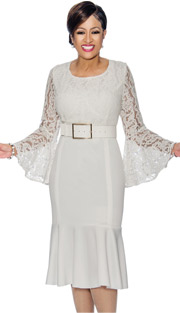 Dorinda Clark Cole 1401 ( 1pc Lace Accented Flounce Hem Dress With Bell Sleeves )