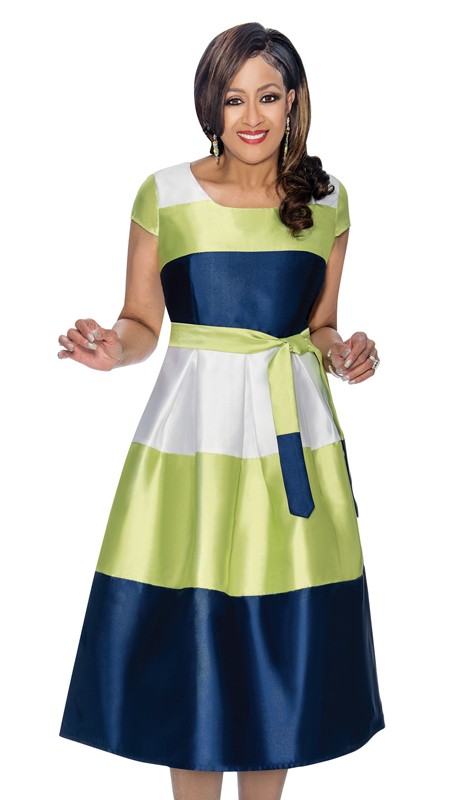 Dorinda Clark Cole 1691-CO  ( 1pc Women s Fare Dress With Bold Stripe, Cap Sleeves, Fabric Sash And Pleated Waist )