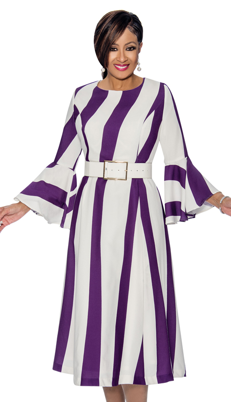 Dorinda Clark Cole 1681 ( Pleated Striped Dress With Bell Cuff Sleeves & Belt )