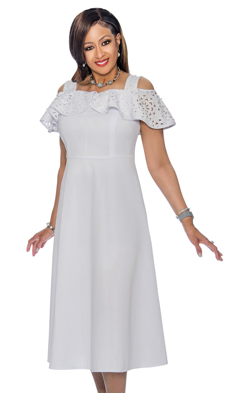 Dorinda Clark Cole 1611 ( Ruffled Off The Shoulder Neckline Dress With Straps )