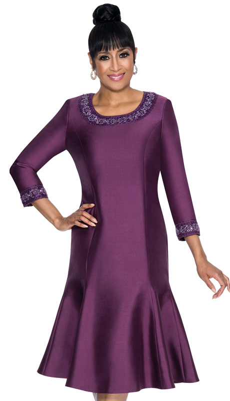 Dorinda Clark Cole 231-IH ( 1pc Shantung Princess Style Dress With Beaded Detail Around Neckline And Sleeve )
