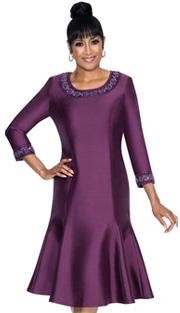 Dorinda Clark Cole 231-IH ( 1pc Shantung Princess Style Dress With Beaded Detail Around Neckline And Sleeve )