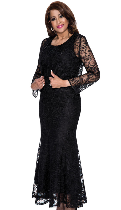 Dorinda Clark Cole 142-BLK-CO ( 2pc Lace Womens Long Dress With Floral Pattern And Jacket )