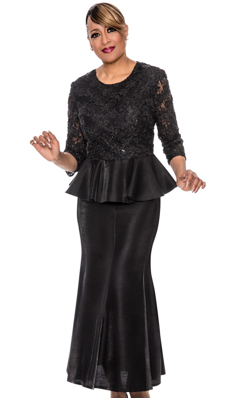 Dorinda Clark Cole 492-BLK-IH ( 2pc Lace With Shimmer Shantung Womens Church Suit With Sequin Embellished Floral Pattern Peplum Top And Long Skirt )
