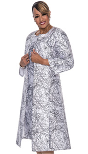 Dorinda Clark Cole 512-IH ( 2pc Womens Church Dress With Modern Artististic Sketch Pattern With Long Jacket )