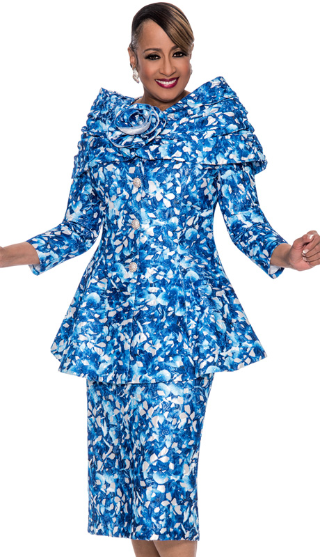 Dorinda Clark Cole 662-IH ( 2pc Brocade Womens Church Suit With Floral Pattern Jacket With Shawl And Rhinestone Buttons And Skirt )