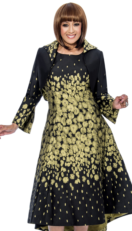 Dorinda Clark Cole 692-OL-IH ( 2pc Metallic Jacquard Is Fit And Flare Dress With High Low Hem )