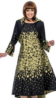 Dorinda Clark Cole 692-OL-IH ( 2pc Metallic Jacquard Is Fit And Flare Dress With High Low Hem )