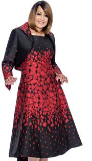 Dorinda Clark Cole 692-BUR-IH ( 2pc Metallic Jacquard Is Fit And Flare Dress With High Low Hem )
