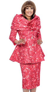 Dorinda Clark Cole 482-RE-IH ( 2pc Jacquard Womens Church Suit With Floral Pattern, Long Jacket, Shawl Collar And Rhinestone Buttons On Jacket With Skirt )