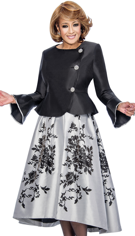 Dorinda Clark Cole 712-BLK-IH-WE ( 2pc Side Closure Peplum Jacket With Flounce Sleeves Contrast Full Skirt With Floral Motiffs High Low Hem )