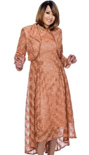 Dorinda Clark Cole 732-TA-IH ( 2pc Jewel Neckline Sleeveless Dress With Pleated And High Low Hem Comes With Wing Collar Bolero Jacket )