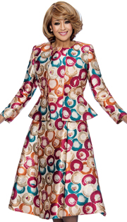 Dorinda Clark Cole 772-MAG-IH ( 2pc Jewel Neck Kiss Front Jacket With Peplum Is Sleeveless Fit And Flare Dress )