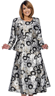 Dorinda Clark Cole 772-BLK-IH ( 2pc Jewel Neck Kiss Front Jacket With Peplum Is Sleeveless Fit And Flare Dress )