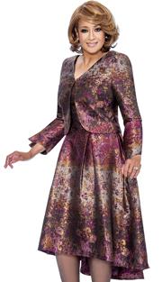 Dorinda Clark Cole 842-PUR ( 2pc The V Neck Sleeveless Release Pleats With High Low Hem Dress Comes With A V Neck Bolero Jacket )