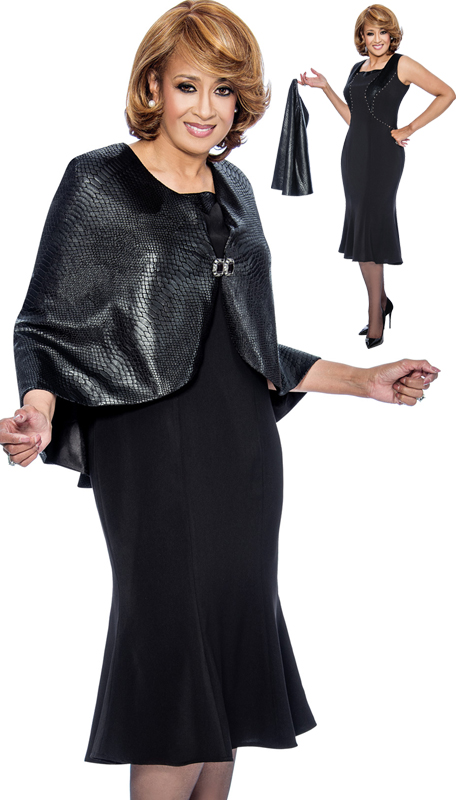 Dorinda Clark Cole 912-BLK ( 2pc Lacquered Jacquard Cape With Rhinestone Closure)