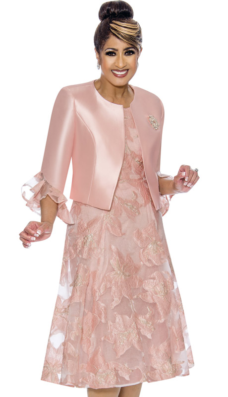 Dorinda Clark Cole 1962-PI ( 2pc Womens Novelty Silk Look Dress With Ruffle Sleeves And Brooch )