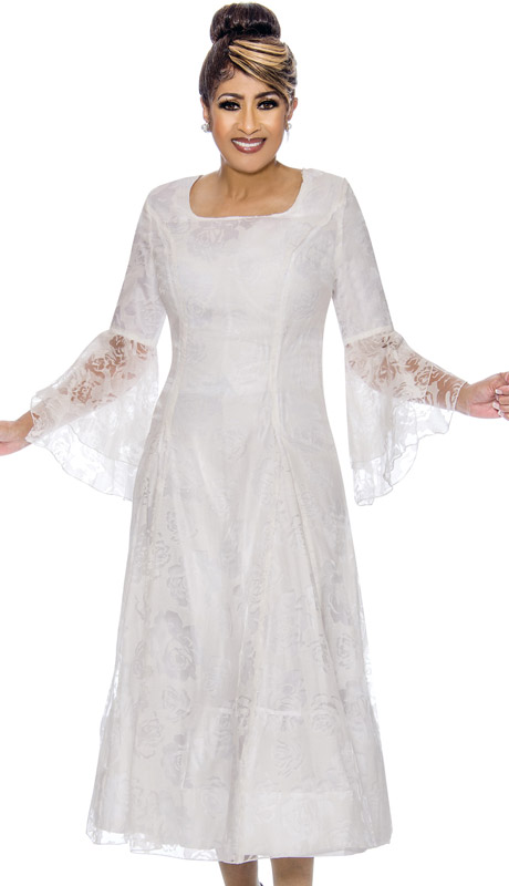 Dorinda Clark Cole 2011-WH ( 1pc Womens Organza Dress With Lace Floral Bell Sleeves )