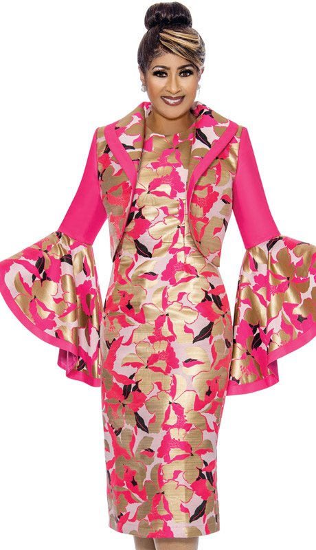 Dorinda Clark Cole 2062-FU ( 2pc Womens Silk Look And Brocade Church Dress With Flair Sleeves )