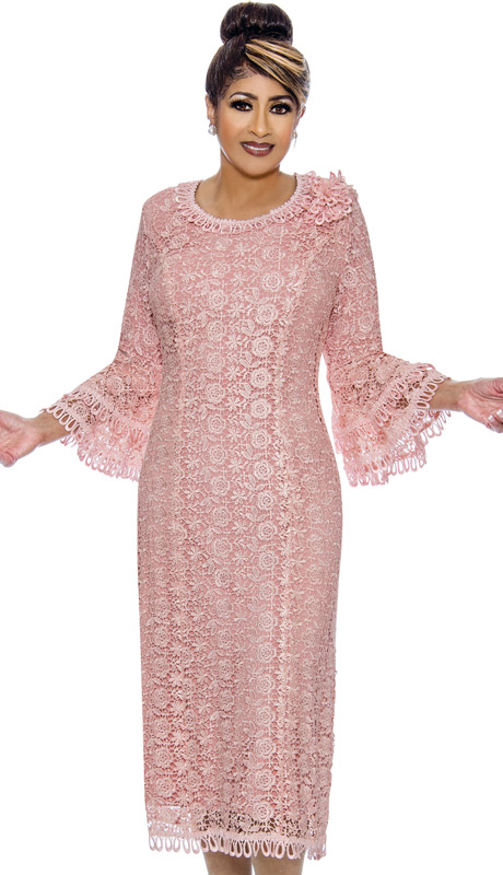Dorinda Clark Cole 2101-PI ( 1pc Womens Lace Church Dress With Bell Sleeves )