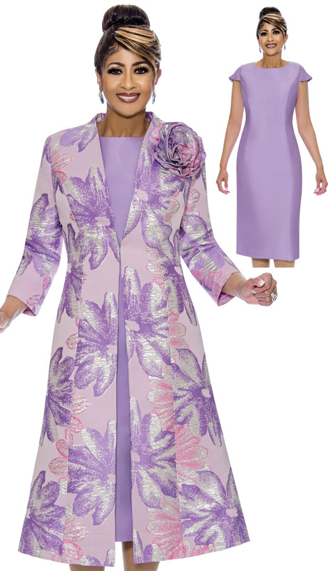Dorinda Clark Cole 1952-LI-IH ( 2pc Brocade Womens Church Dress With Duster Jacket )