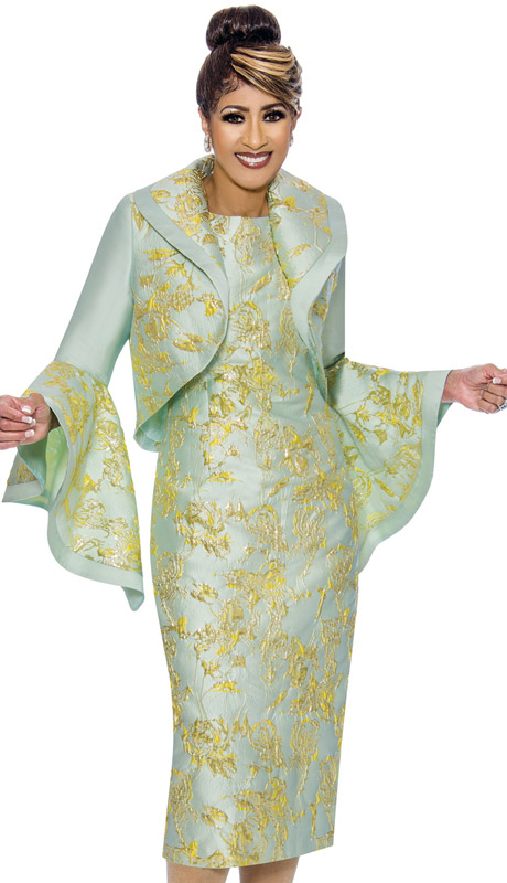 Dorinda Clark Cole 2002-M-IH ( 2pc Womens Silk Look With Brocade Church Dress With Bolero Jacket And Flounce Sleeves )
