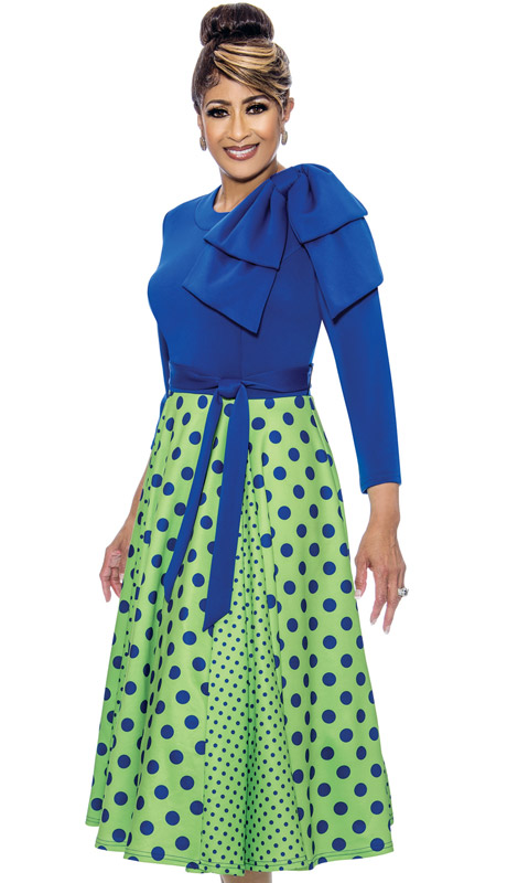 Dorinda Clark Cole 1971-RO ( 1pc Womens PeachSkin Church Dress With Polka Dots And Sash Belt )