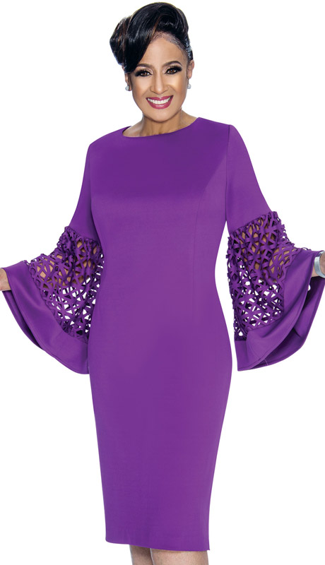 Dorinda Clark Cole 1861-PU ( 1pc Womens Silk Look Church Dress With Laser Cut Bell Sleeves )