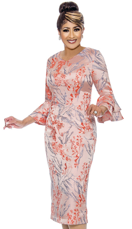 Dorinda Clark Cole 1981-CO ( 1pc Ladiess Novelty Dress With Brocade Floral Print Design )