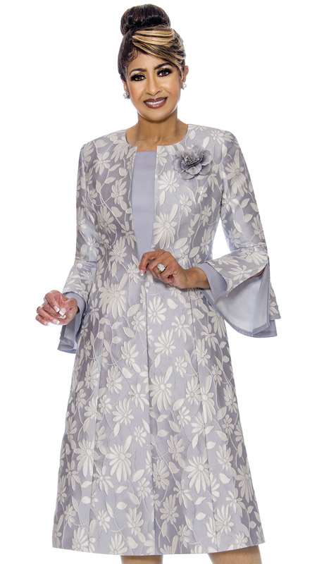 Dorinda Clark Cole 1772-SI ( 2pc Ladies Duster Dress With Daisy Patterned And Textured Jacquard Jacket, Layered Flounce Sleeves And Silk Flower Brooch )