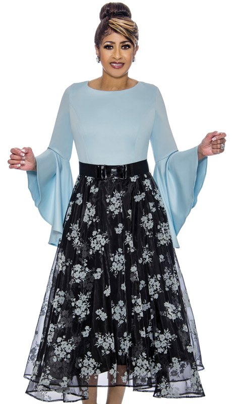 Dorinda Clark Cole 1831-PE-IH ( 1pc Womens Dress With High Low Flounce Sleeves, Floral Patterned Organza Overlay, Pleated Waist And Belt )
