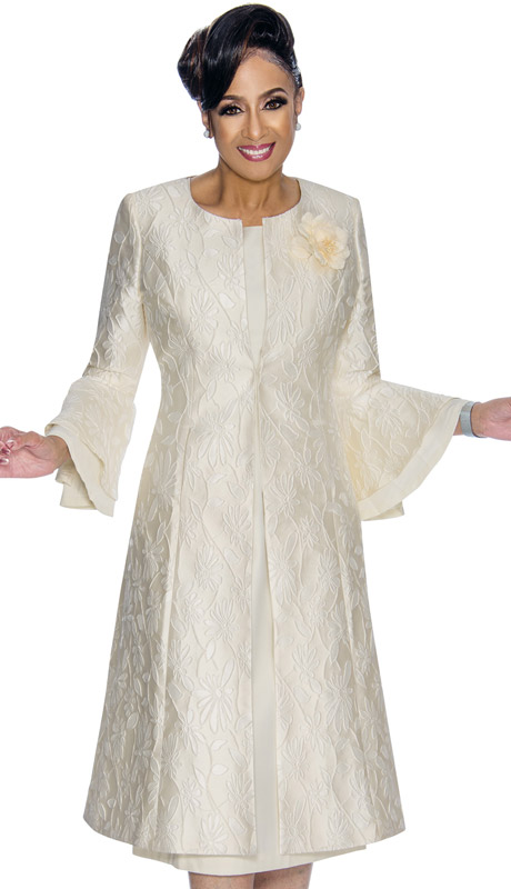 Dorinda Clark Cole 1772-IV ( 2pc Ladies Duster Dress With Daisy Patterned And Textured Jacquard Jacket, Layered Flounce Sleeves And Silk Flower Brooch )
