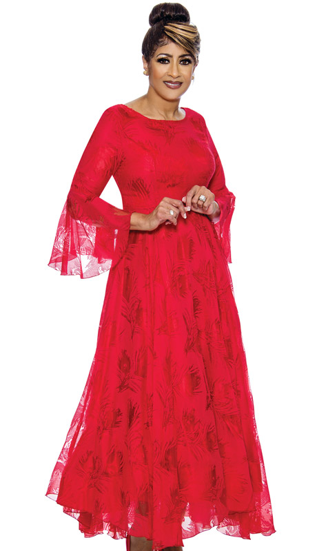 Dorinda Clark Cole 2021-RE ( 1pc Womans Church Dress With Subtle Print Design And Bell Sleeves )