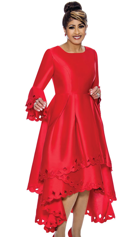 Dorinda Clark Cole 1431-RE-IH ( 1pc Womens Silk Look Church Dress With Cut-Out Pattern, Pleated Waist, Layered Flounce Sleeve And High Low Scalloped Hem )
