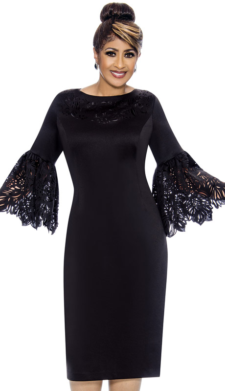 Dorinda Clark Cole 1921-BL-CO ( 1pc Silk Look Ladies Church Dress With Laser Cut Bell Sleeves )