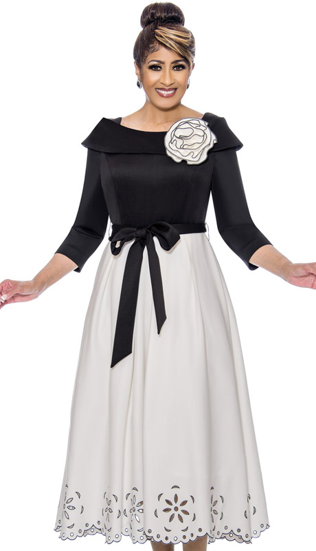 Dorinda Clark Cole 1941-BW-IH ( 1pc Womens PeachSkin Sunday Dress With Sash Belt And Cut Out Details )