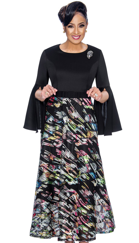 Dorinda Clark Cole 1801-BL ( 1pc Womens Church Dress With Slit Bell Sleeves, Sheer Soutache Lace And Rhinestone Brooch )