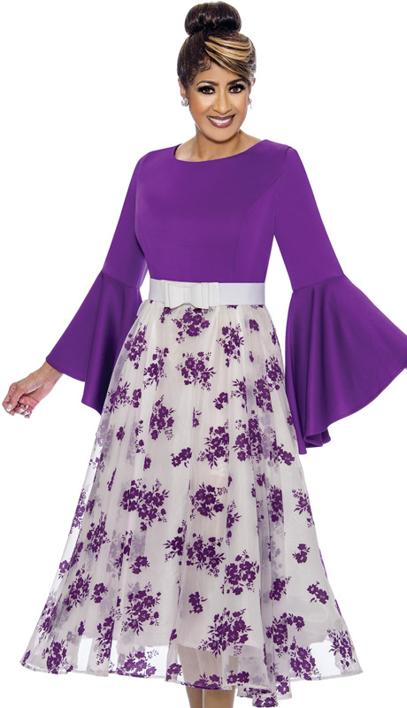 Dorinda Clark Cole 1831-PU-IH ( 1pc Womens Dress With High Low Flounce Sleeves, Floral Patterned Organza Overlay, With Pleated Waist And Belt )
