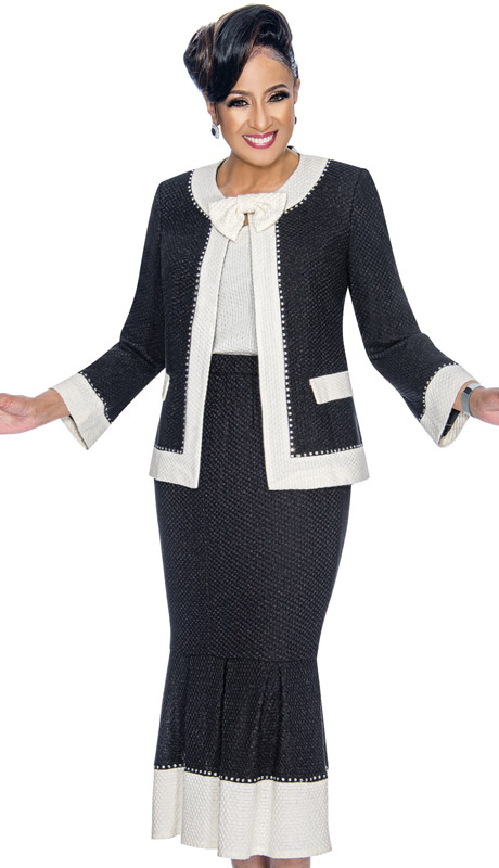 Dorinda Clark Cole 1883-BW ( 3pc Womens Knit Suit For Church With Rhinestone Trim, Jacket, Detachable Bow And Flounce Skirt )