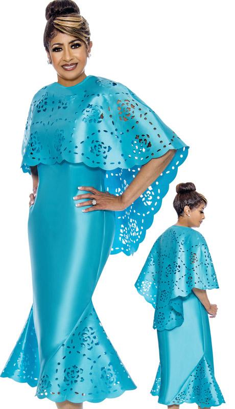 Dorinda Clark Cole 1992-TU-CO ( 2pc Womens Silk Look Dress With Laser Cut Out Cape )