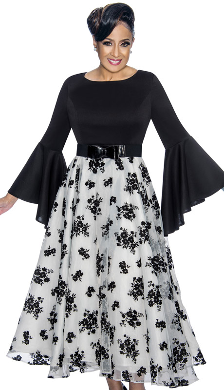 Dorinda Clark Cole 1831-BL ( 1pc Womens Dress With High Low Flounce Sleeves, Floral Patterned Organza Overlay, With Pleated Waist And Belt )