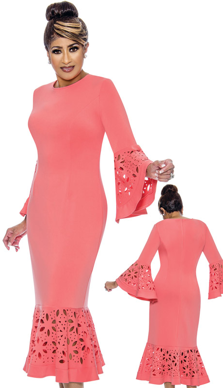 Dorinda Clark Cole 2081-PI ( 1pc Womens PeachSkin Dress With Laser Cut Floral Bell Sleeves )