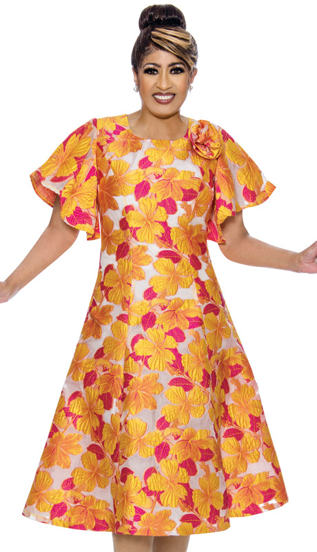 Dorinda Clark Cole 2031-YE ( 1pc Womens Novelty Dress With Floral Print Design )