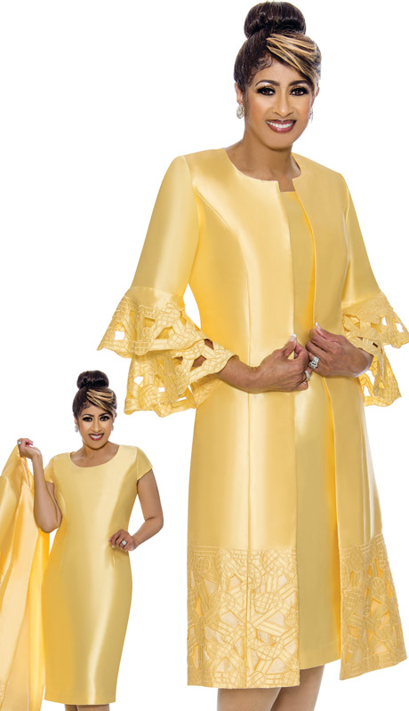 Dorinda Clark Cole 1932-YE-IH ( 2pc Womens Silk Look Ladies Duster Dress With Layered Sleeves And Embroidery )