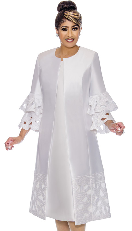 Dorinda Clark Cole 1932-WH-IH ( 2pc Womens Silk Look Ladies Duster Dress With Layered Sleeves And Embroidery )