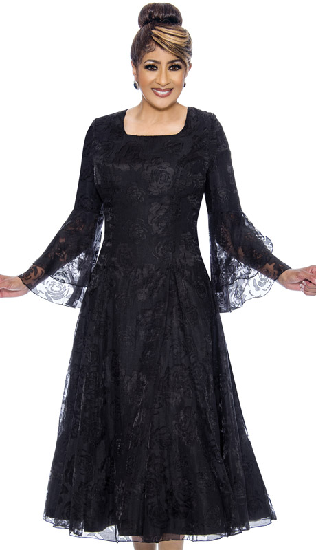 Dorinda Clark Cole 2011-BL ( 1pc Womens Organza Dress With Lace Floral Bell Sleeves )