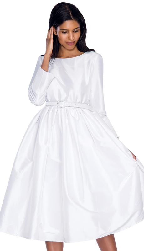 Nubiano Dress 5871-WH ( 1pc Taffeta Pleated With Belt Womens Sunday Dress )