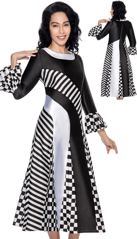 Nubiano Dresses 3861-IH ( 1pc Silk Look Striped And Checkered Pattern Womens Church Dress )