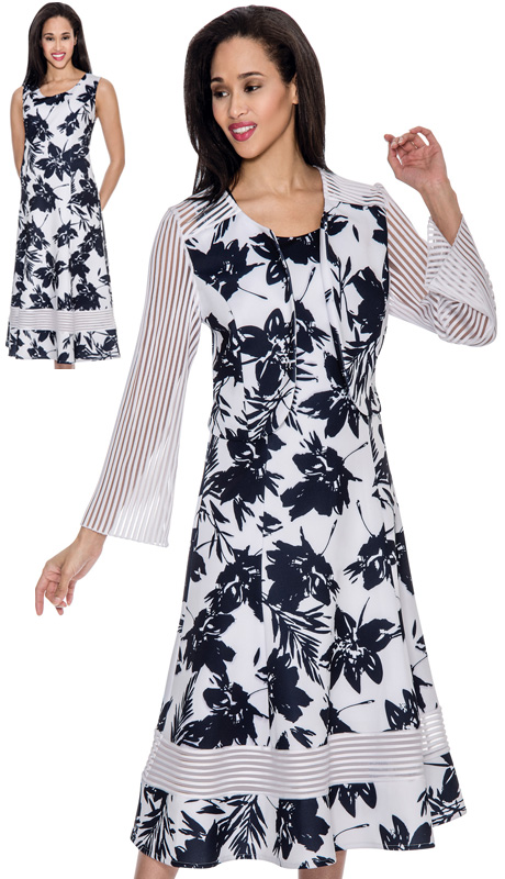 Nubiano 3932-IH ( 2pc Knit Floral Print With Stripe Sleave And Shoulder Jacket Sunday Suit )