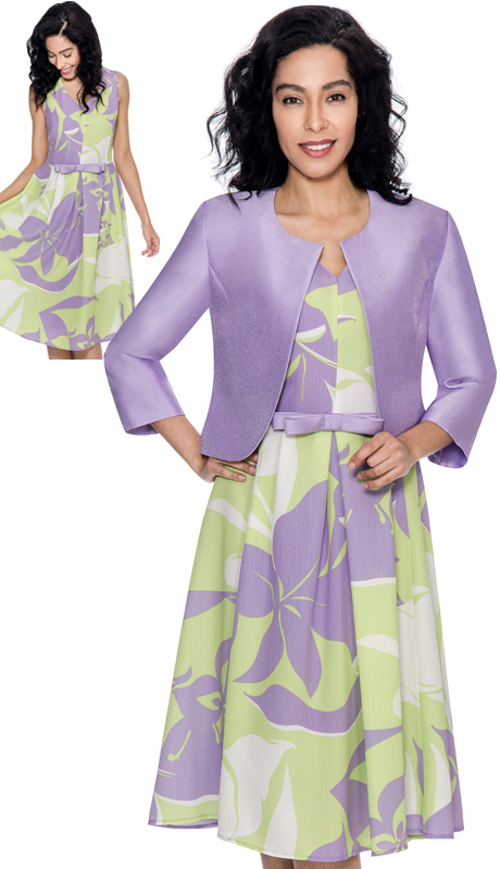 Nubiano 3972-IH ( 2pc Novelty Flower Print Jacket And Dress For Church )